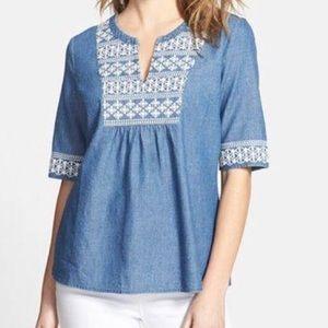Vineyard Vines Crochet Denim Shirt